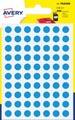 Avery PSA08B etiquettes pastilles rondes, diamètre 8 mm, blister de 490 pièces, bleu clair