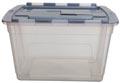 Whitefurze Tote boîte de rangement 55 litres, transparent avec couvercle gris