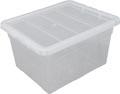 Whitefurze Spacemaster boîte de rangement 32 litre, paquet de 3 pièces, transparent