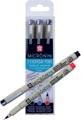 Sakura fineliner Pigma Micron PN, Office set van 3 stuks in geassorteerde kleuren
