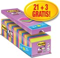 Post-it Super Sticky Notes, ft 76 x 76 mm, geassorteerde kleuren, pak van 21 + 3 gratis