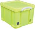Really Useful Box opbergdoos 35 liter, neongeel met witte handvaten