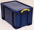 Really Useful Box boîte de rangement 84 litre, bleu foncé avec poignées jaunes