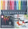Sakura Koi feutre pinceau Coloring Brush Pen, étui de 12 pièces en couleurs assorties