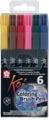 Sakura Koi feutre pinceau Coloring Brush Pen, étui de 6 pièces en couleurs assorties